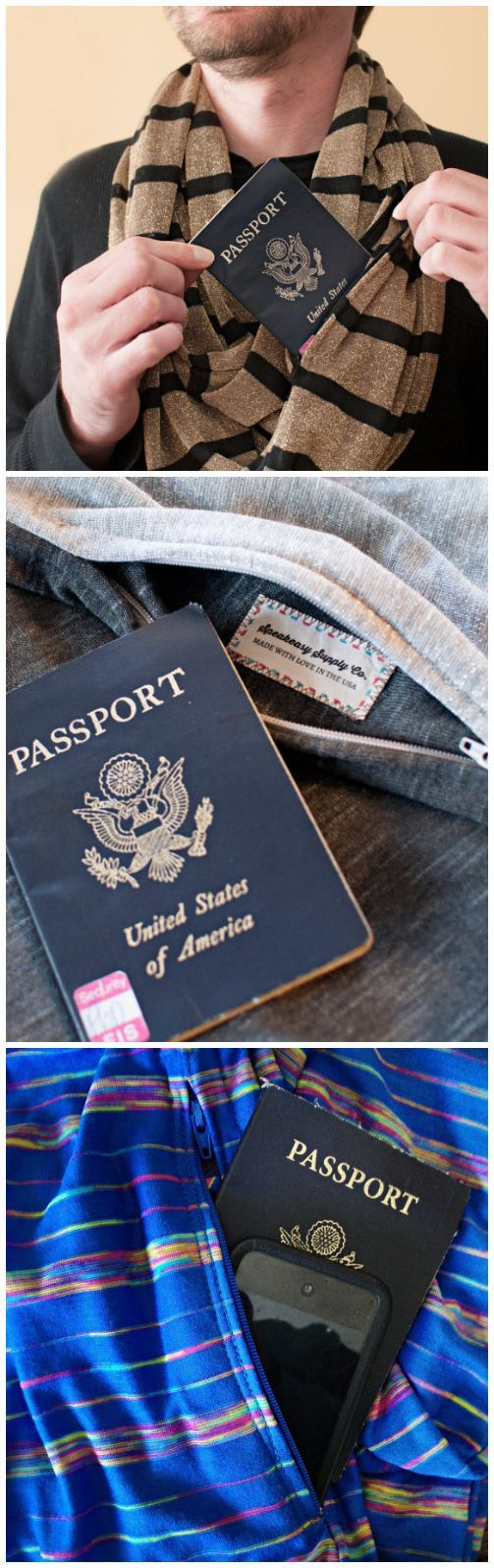 Travel scarf with hidden pocket for passport