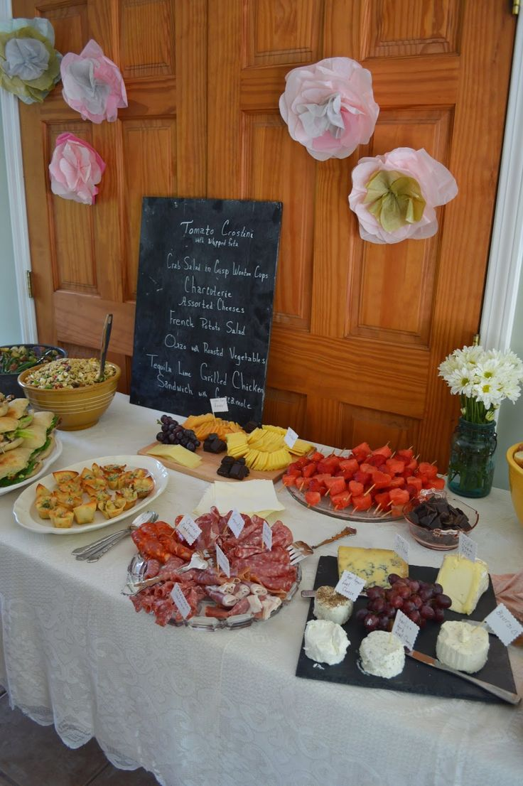 Bridal Shower Lunch Spread With Menu Board