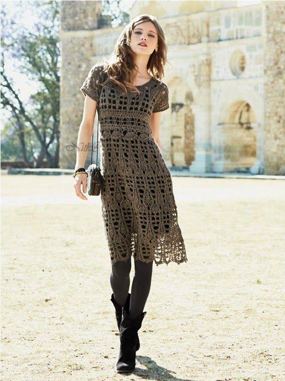 Crochetemoda: Vestido de Crochet ♪ ♪ ... #inspiration #crochet #knit #diy GB http://www.pinterest.com/gigibrazil/boards/