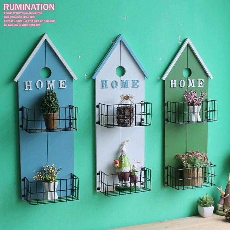 Европейский стиль деревянная полка творческий настенный ретро сад настенная корзина хранения старинные ремесла домашнего декора