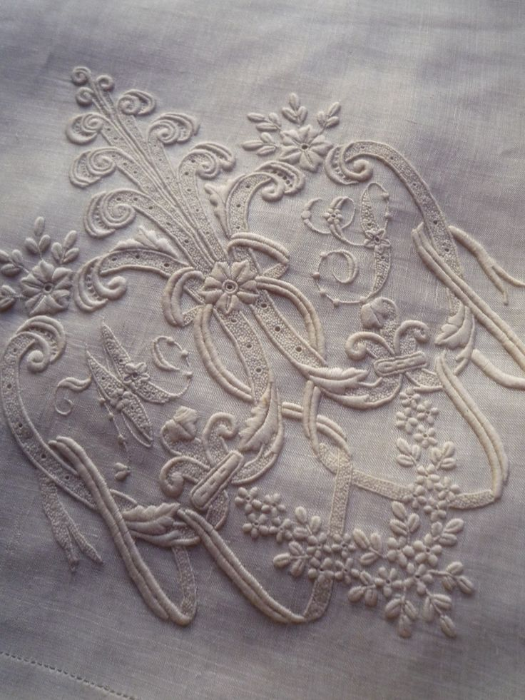 Antique French Embroidered Linens