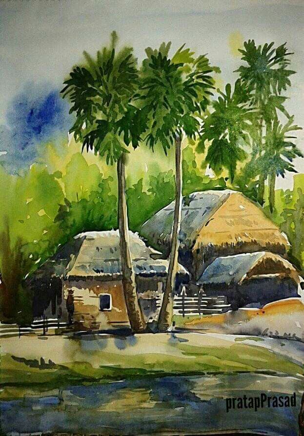 Prakashan Puthur Watercolor Landscape Paintings Watercolor