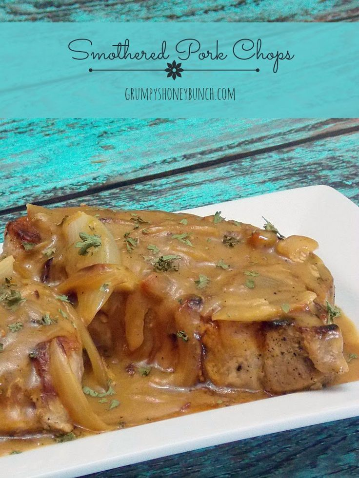 Seasoned pork chops smothered in a flavorful onion gravy served over a bed of rice or mashed potatoes, Smothered Pork Chops are pure comfort food in the middle of the week that don't take too long to throw together!