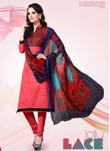 Mayur 1606 - Red Color Cotton Designer Suit