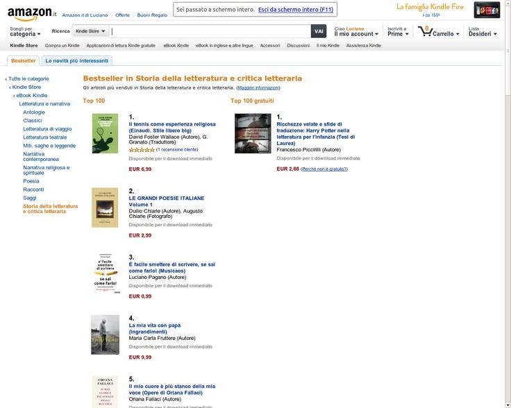 """24 Gennaio 2013 - Classifica Amazon.it dei Bestseller di Storia della letteratura/Critica Letteraria, """"È facile smettere di scrivere se sai come farlo"""", al 3° posto"""