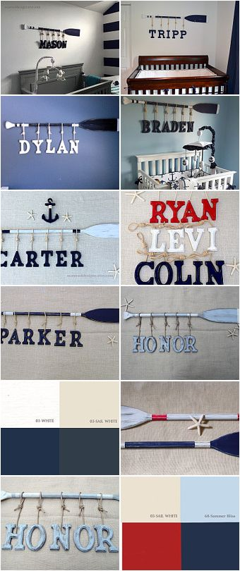 Nautical Baby Name Letters and Washed Distressed Paddles by seaweeddesigns.etsy. com.  Customize your nursery with a selection of paddle lengths and colors combinations to create that perfect nautical focal point for your baby's room.