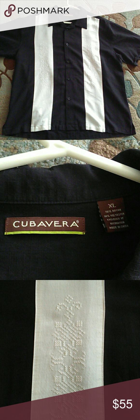 """Cubavera men's button 🔻 NWOT """"21/2 Men, """"Charlie Sheen"""" type 👕. NWOT,  NEVER TRIED ON! It was a 🎁, why tag's 📴. I wanted🔥2 it in front of my cheating, sons father who destroyed us after 18 yrs 4 a 1 🌃 er. """"For 18yrs he broke me, mentally, verbally,  physically & emotionally! But I 💭"""" NOW, IMA LET HIM GET ME FINANCIALLY """"? NOT EVEN!!  So men, men, men, men, men, men, men, men, ooo hoo, hoo, hoo. Come make a reasonable offer on this linen, shrt slv,  collared,  bowling style button 🔻…"""