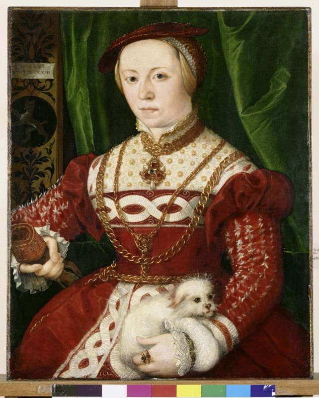 Portrait of Regina Baumgartner, by Christopher Amberger, 1540. The dog is a Maltese a truly loving and loyal breed.