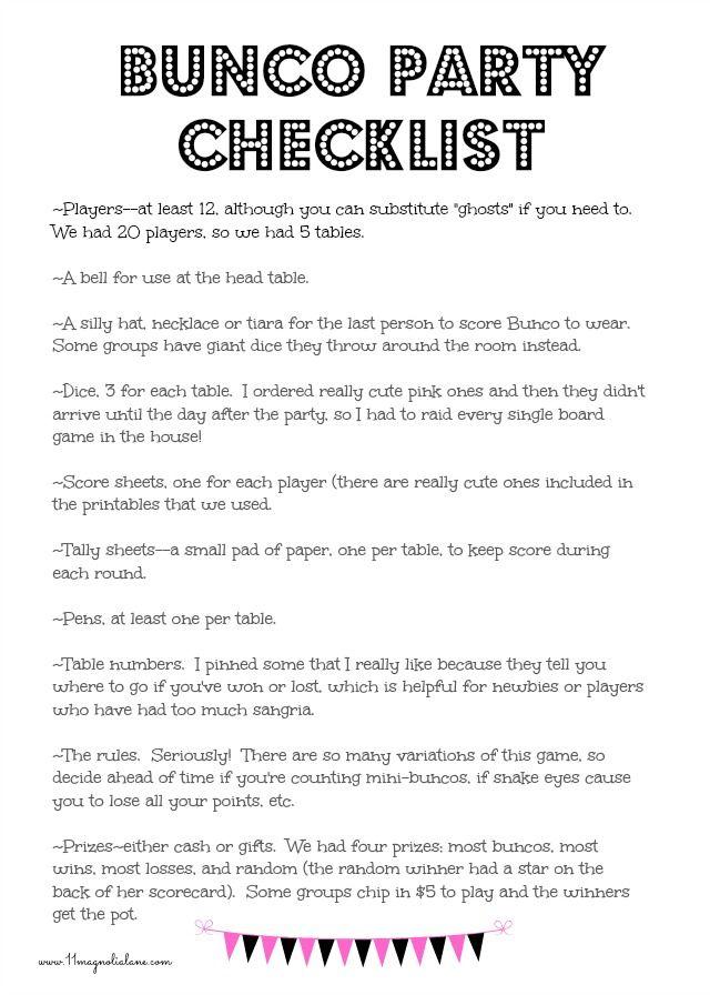 Bunco party checklist