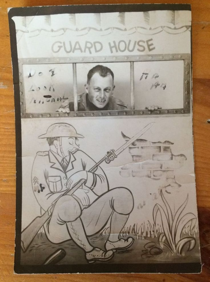 WW1 Photo Whimsical Guard House Cartoon & Real Photo Sleeping Guard