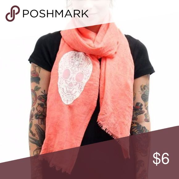 """Lace Skull Coral Scarf Winter Fall Brand new coral scarf Light and soft material Hand wash  28"""" x 67""""  not an infinity scarf Unknown Accessories Scarves & Wraps"""