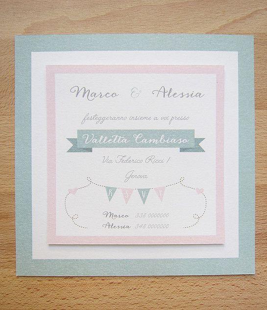 Facciamo festa - partecipazione e invito a scheda quadrata a tema romantico su carta di cotone bianco latte