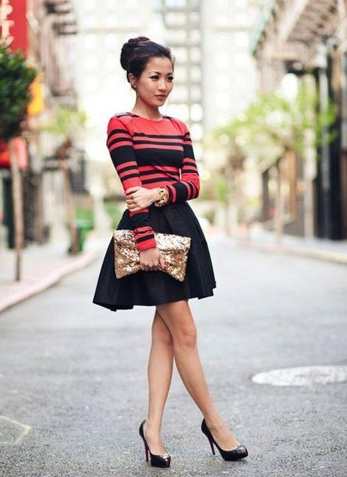 stripe top and flouncy skirt.