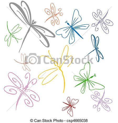 Vector - Dragonfly Set - stock illustration, royalty free illustrations, stock clip art icon, stock clipart icons, logo, line art, EPS picture, pictures, graphic, graphics, drawing, drawings, vector image, artwork, EPS vector art