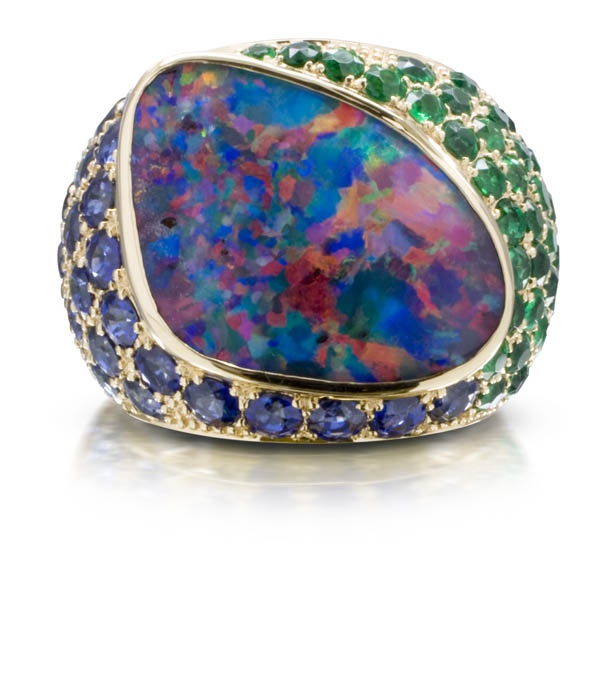 Large Irregular Black Opal surrounded by Gem Sandawanna Emeralds and Pailin Sapphires set in 18k Yellow Gold, a True One of a Kind