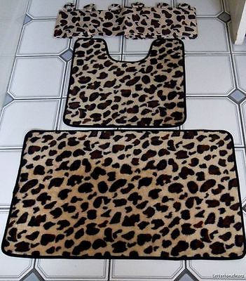 15-Pc Brown Leopard Bathroom Shower Curtain Bath Mat Set Contour Rug 12 Rings