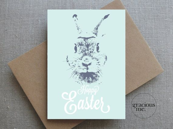 Happy Easter Card, Easter Card, Bunny Rabbit Card - Hoppy Easter  A cute Hoppy Easter bunny card for someone special.  Lovely aqua and slate blue