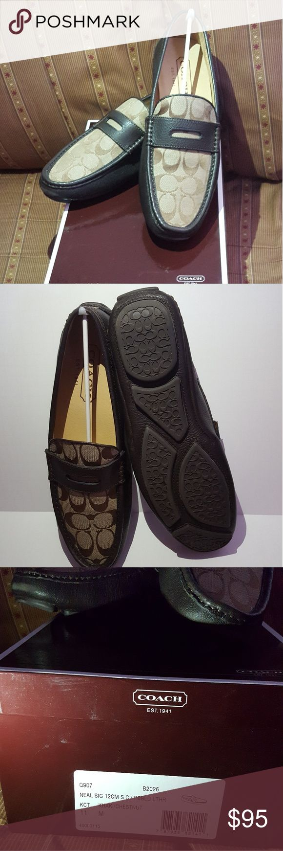 New COACH Mens Neal Brown/Tan Slip On Loafers These COACH Mens Neal Brown/Tan Slip On Loafers Shoes. Are brand new in mint condition never been worn. I bought for the hubby but he never wore them. They come with the original box which they came in. This will make a perfect Christmas gift for that special guy in your life. They are size 11 🎄🍁 Coach Shoes Loafers & Slip-Ons