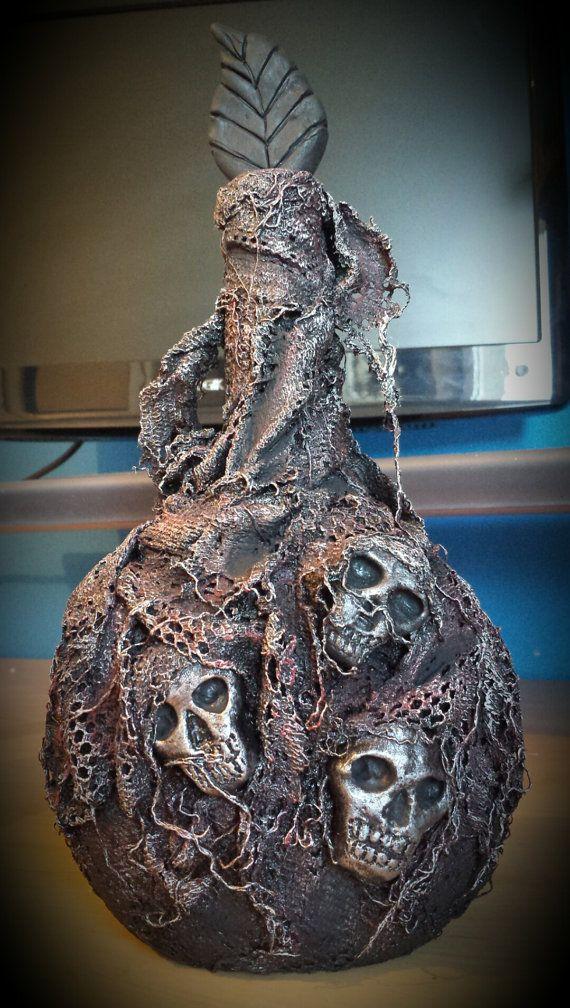 Powertex Gothic Skulls Altered Bottle  by Heather's Craft Studio on Etsy
