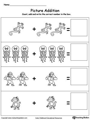 Addition With Pictures: Animals: Learn addition by counting the pictures, this simple yet affective worksheet will help your child develop their beginning math skills.