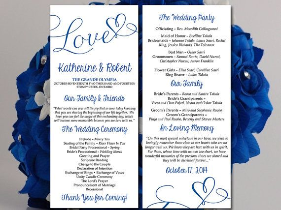 Download And Print Your Wedding Or Event Fold Over Programs With This Downloadable Program