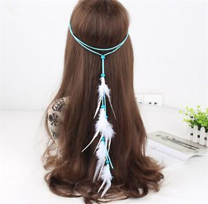 New Hippie Indian Feather Headband Handmade Weave Feathers Hair Rope Band