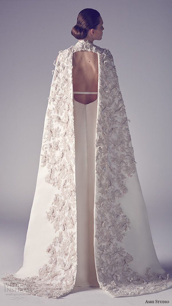 ashi studio couture 2015 jewel neckline sleeveless floral embroideries inner pants sheath dress with cape back view