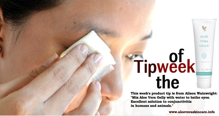 "Tip of the week...... This week's product tip is from Alison Wainwright: ""Mix Aloe Vera Gelly with water to bathe eyes. Excellent solution to conjunctivitis in humans and animals."" www.awhl.co.uk"