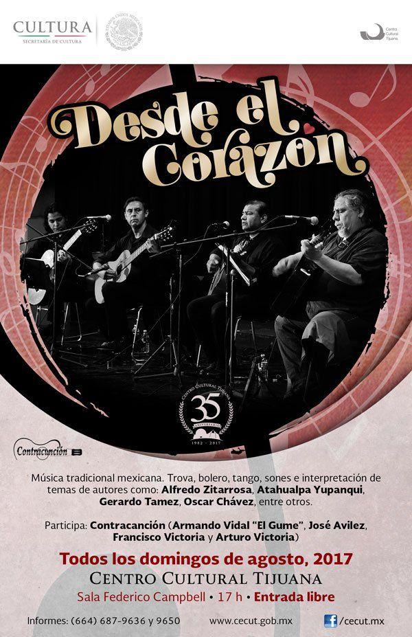 Música tradicional mexicana, trova, bolero, tango, sones e interpretación de temas de autores.