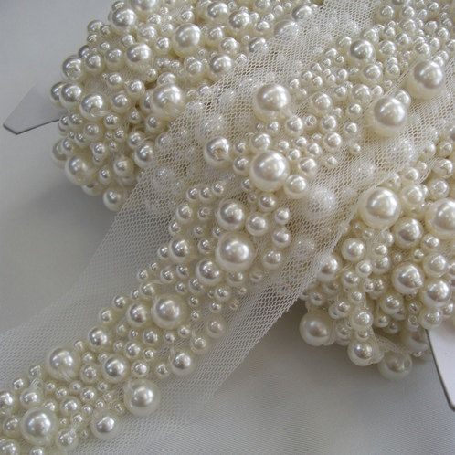 1 YARD Pearl Beaded Sash or Headband Trim in Ivory by allysonjames, $198.98