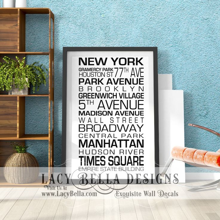 """New York"" subway art style vinyl wall decal lettering landmarks famous streets cities 
