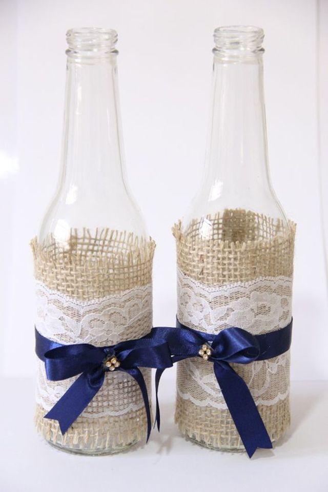 Garrafa de cerveja decorada para casamento