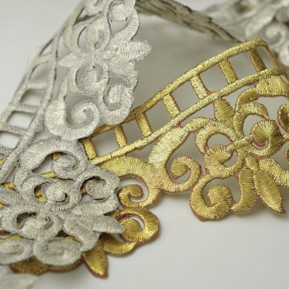 Iron on Metallic Thread Lace Trim for Bridal Costume or