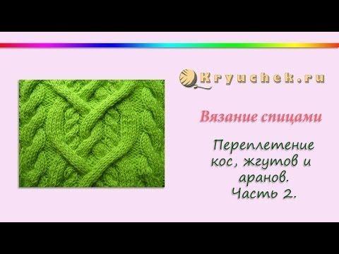 Узор из жгутов и аранов. Часть 1. (Knitting. Strands, braids and arans. Part 1.) - YouTube
