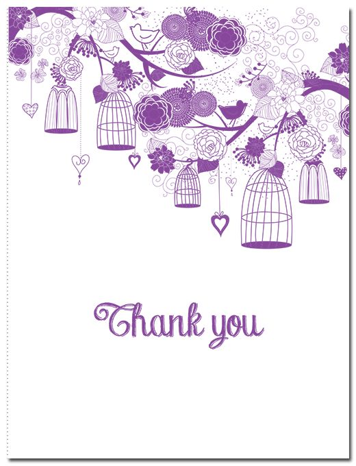 Love Birds Suite Thank You Card - paper, seed, thank, cards, printed, plain, add, ... - EcoCelebrations