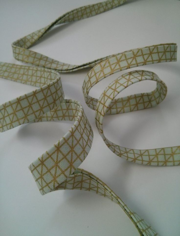 """Handmade Metallic Gold on Soft Mint Double Fold Bias Tape - 3 yards, CHOOSE 3/8"""" or 1/2"""" wide by bumbleofbees on Etsy"""