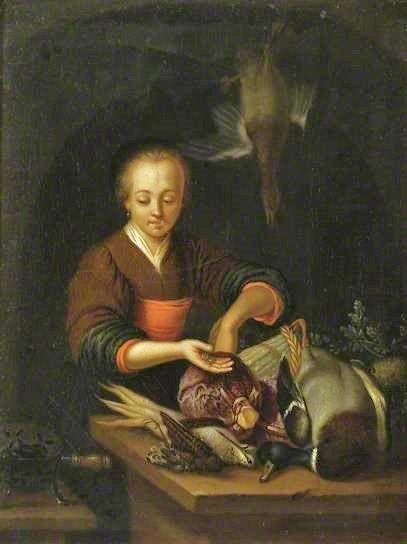 1651 Frans van Mieris the elder (Dutch artist, 1635–1681) Lady Stuffing a Bird