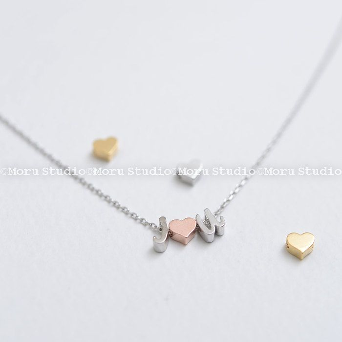 Personalized Initial Necklace/Dainty Silver Letter Necklace, Heart Necklace,Custom Name Necklace,Monogram Necklace,Bridesmaid Jewelry NIU046 by MoruStudio on Etsy
