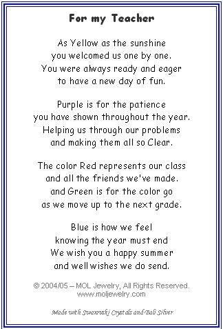 Teacher color poem teacher appreciation pinterest for What should i give my mother for christmas