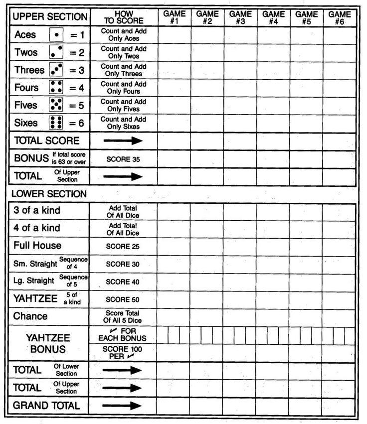 Yardzee score sheet
