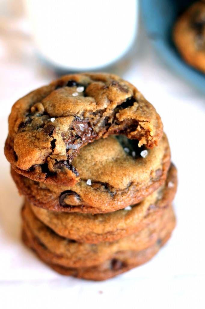 Ambitious Kitchen | Nutella-Sttuffed Caramel + Sea Salt Chocolate Chip Cookies