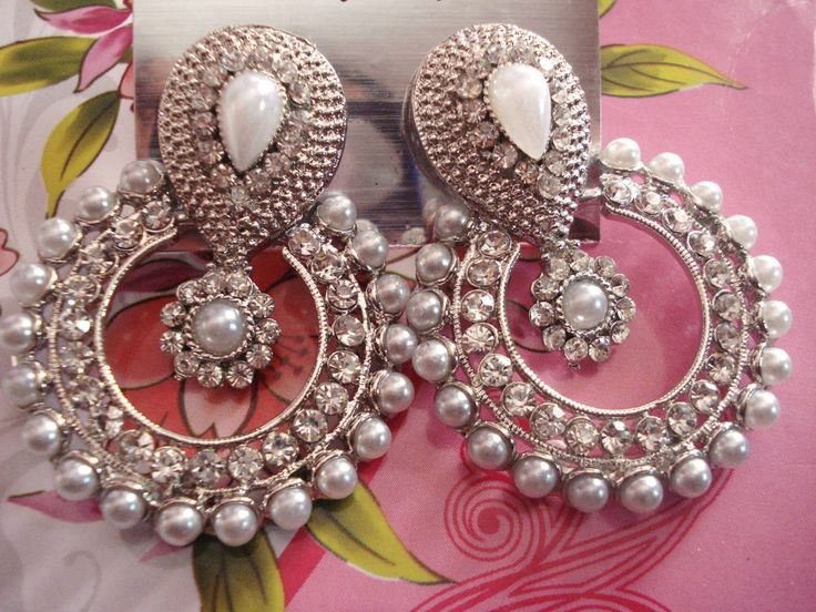 New silver color and design beautiful earrings bollywood ramleela model