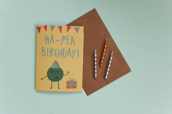 Ha-pea birthday greeting card / A6 happy birthday card with pea illustration and pun / Printed on recycled card with brown envelope