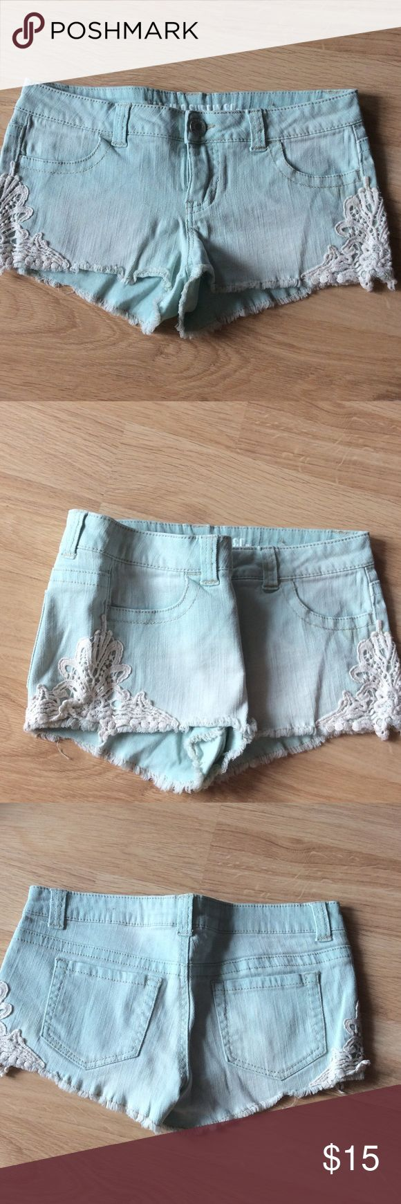 Jean shorts with lace Mint green shorts with lacy sides Mossimo Supply Co Shorts Jean Shorts