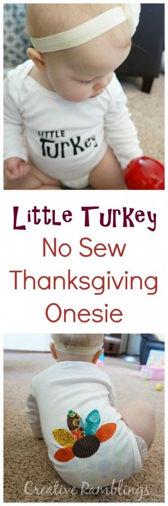 Little Turkey No Sew Thanksgiving Onesie made with my Silhouette - Creative Ramblings