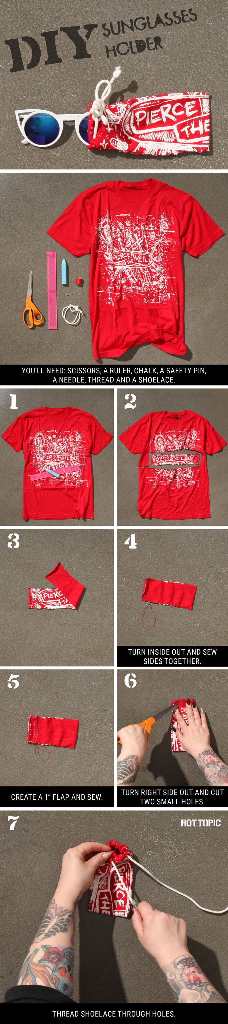 Old Tees = Awesome Sunglasses case // DIY Pierce The Veil Sunglasses holder