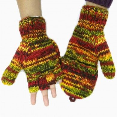 Woolen Winter Gloves Hand Knitted Multicolor Mittens Women Wear Accessory India