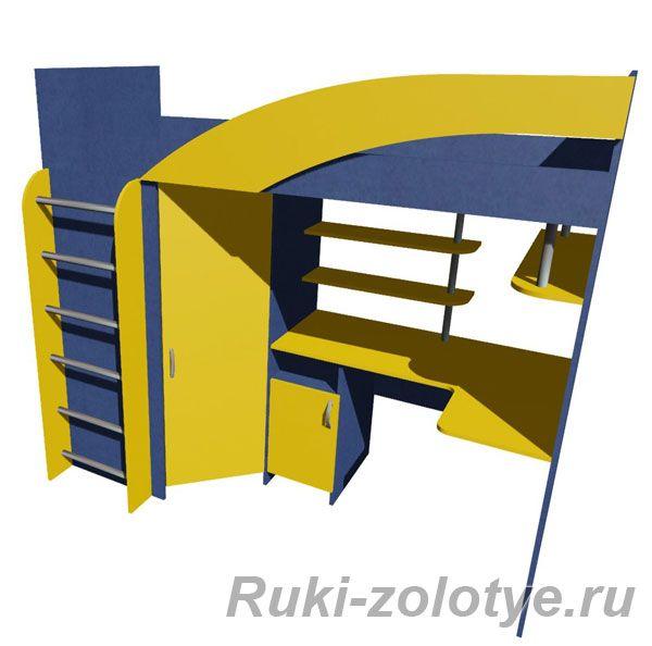 Двухъярусная кровать-чердак для школьника | Всё своими руками