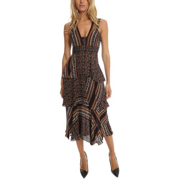A.L.C. Hayley Dress ($795) ❤ liked on Polyvore featuring dresses, dress evening cocktail, midi dress, midi cocktail dress, peplum midi dress, print cocktail dress and midi evening dresses