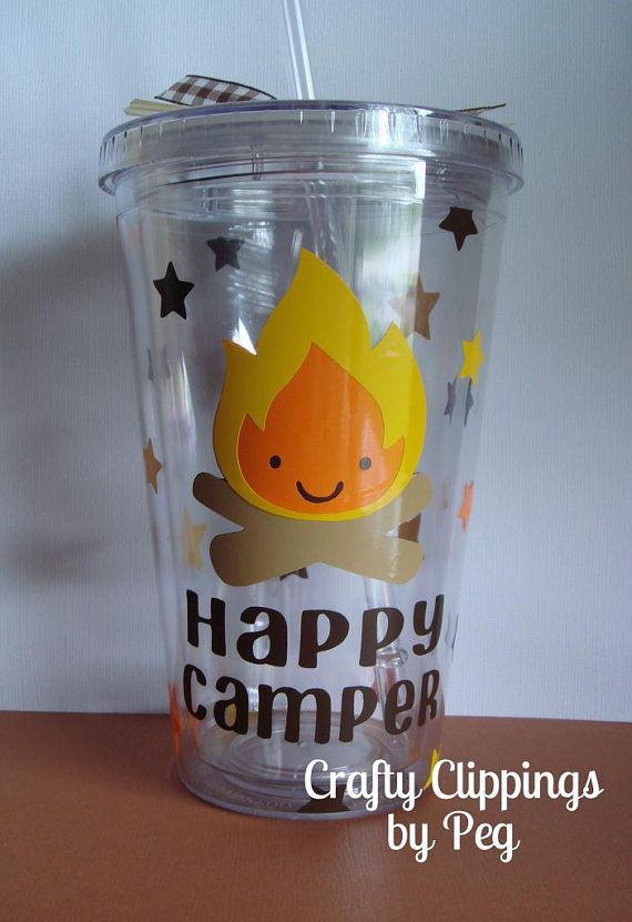 Tumbler Camping party Gift, Cricut Vinyl, Glamping Cup, Campfire,  Happy Camper by CraftyClippingsbyPeg